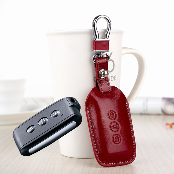 FOB Key Cover For Mitsubishi V3 southeast ASX PAJERO Etc Genuine Leather car key holder remote case keychain ring