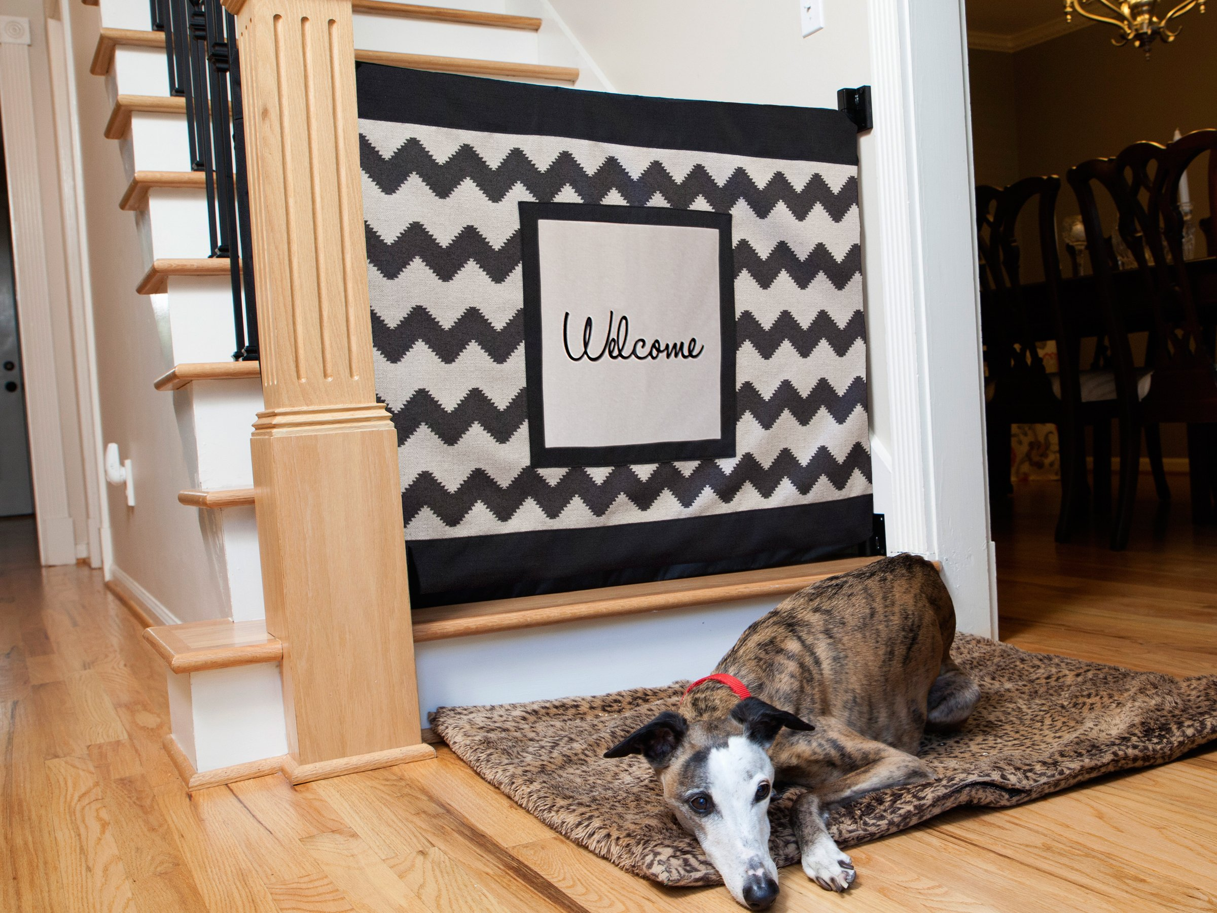 The Stair Barrier Wall To Banister Chevron With Welcome Patch Pet And Baby  Safety Gate For
