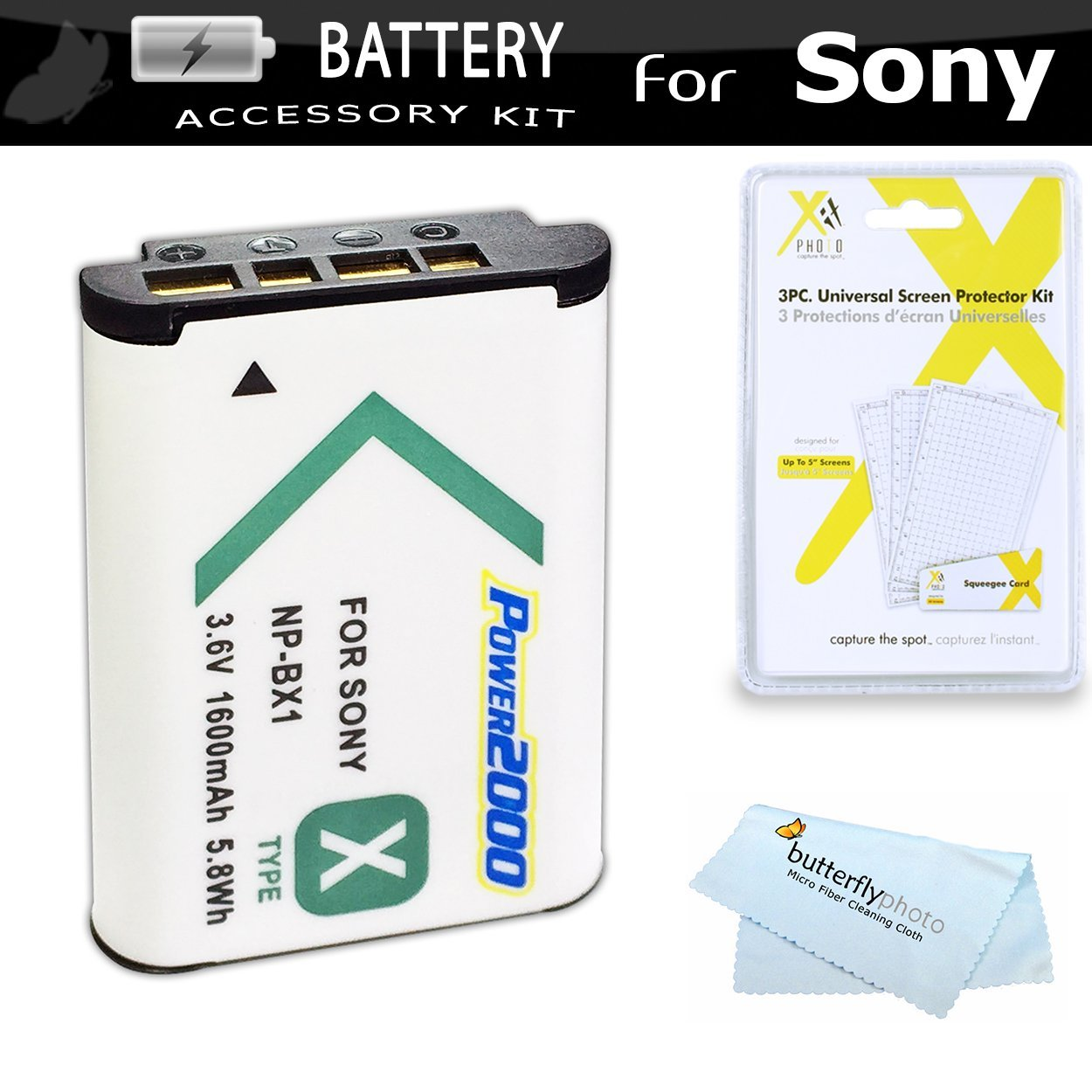 Replacement NP-BX1 Battery Kit For Sony DSC-RX100M IV, DSC-RX1R, DSC-HX300, DSC-WX350, DSC-HX50V, DSC-HX50V/B, HDR-CX240, HDR-PJ275, HDR-AS15, HDR-AS30V, HDR-AS100V, HDR-CX440, HDR-CX405, HDR-PJ440, FDR-X1000V, AS200V Camcorder
