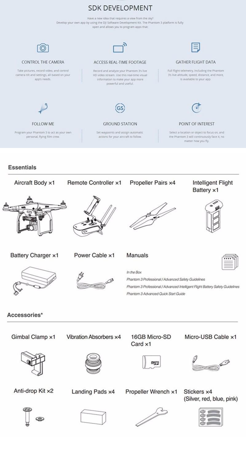 Advanced Dji Phantom 3 Phantom3 2016 Hot Professional Drone Brushless  Gimbal With 1080p Camera Quadcopter Uav Gps Follow Me Fpv - Buy Advance
