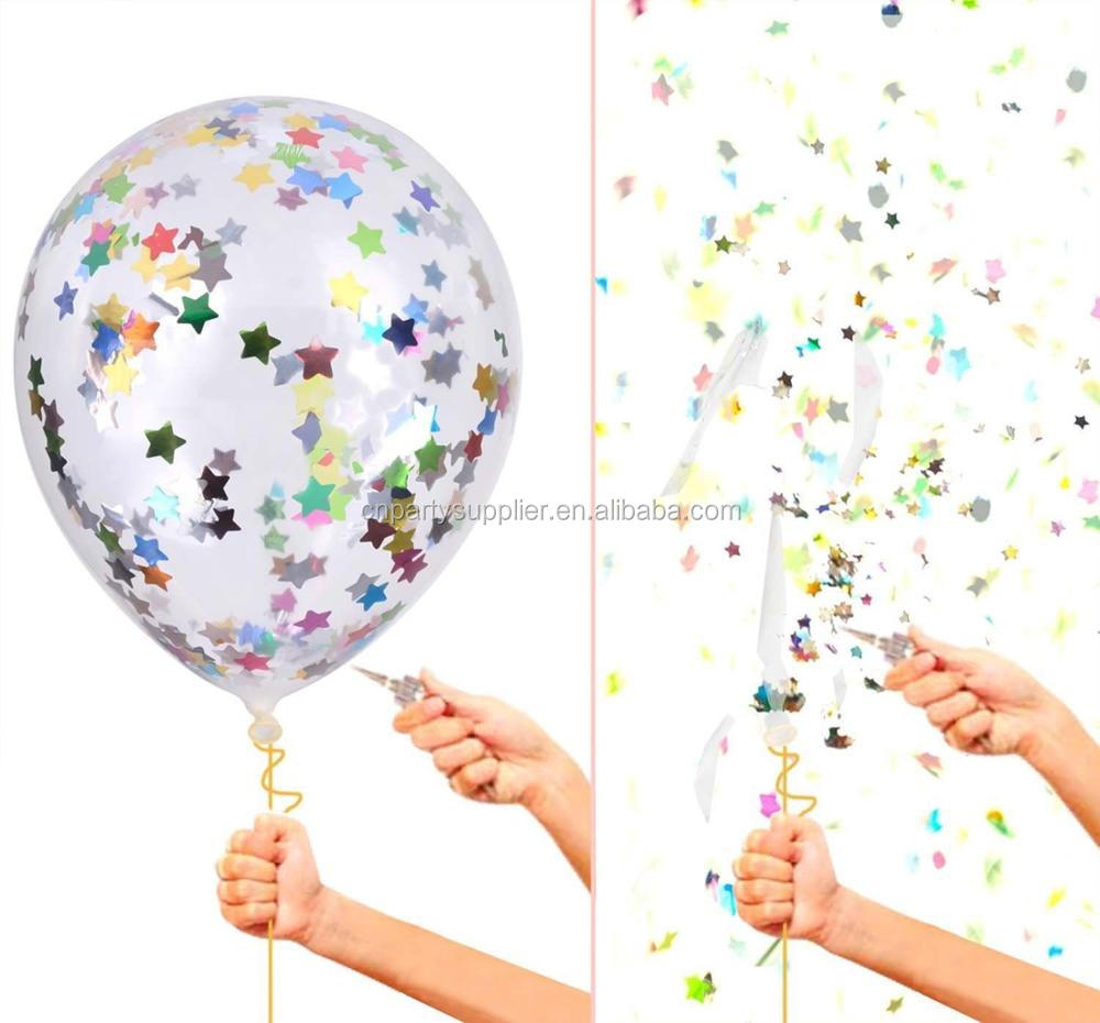 Free Shipping 36 inch Party Decoration Rainbow Color Latex Giant Clear Transparent Confetti Balloons