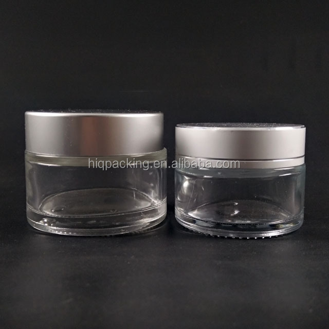 clear 30g 50g cream jar with metal silver cap glass cosmetic container with inner cap