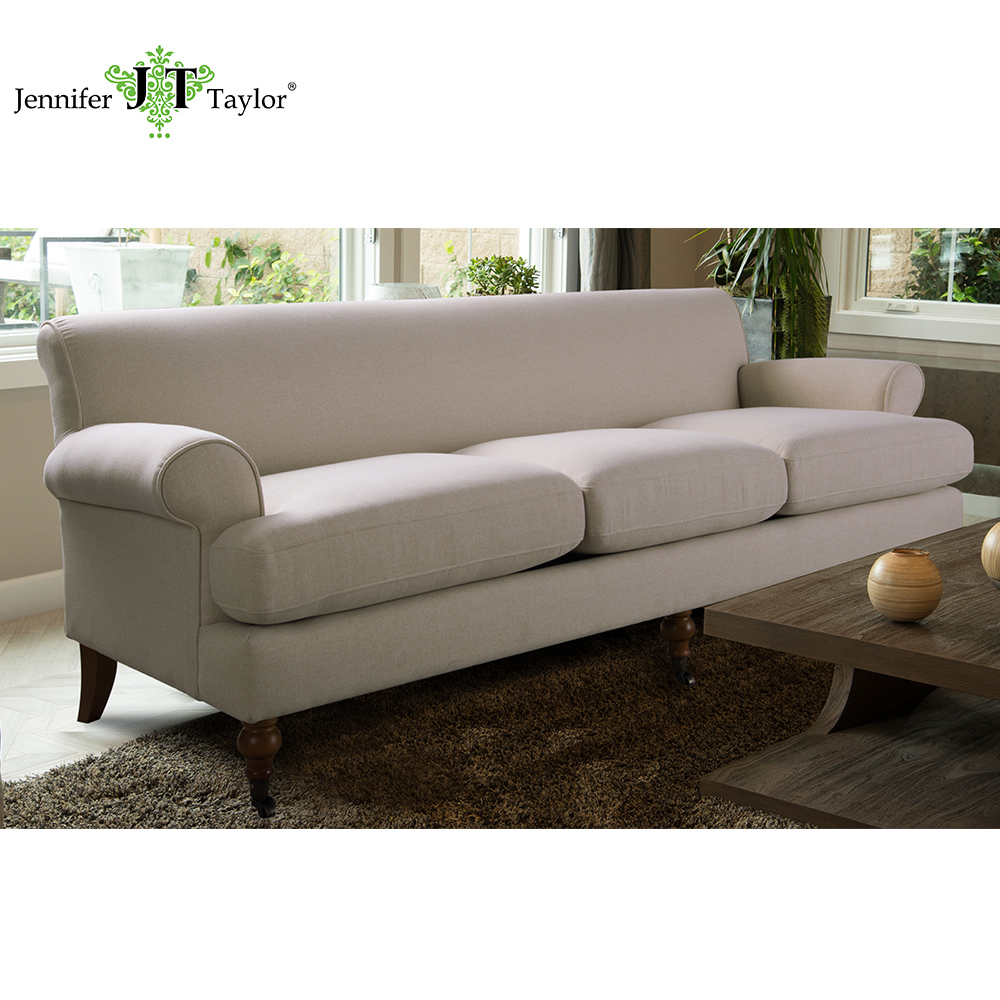 Home furniture antique design big three seater sofa with caster leg, UK hot selling fabric couch sofa