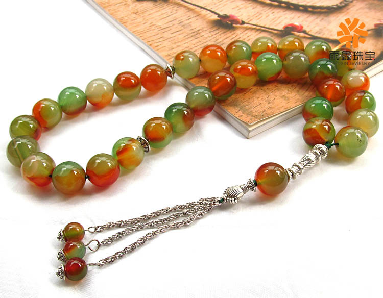 Natural Green red agate beautiful elegent women bracelet Islamic musilm 33 prayer beads tashih Rosary beads by Free shipping