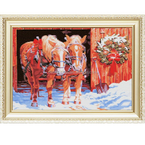 2017 red horse machine handmade wholesales diy 5d diamond embroidery painting kit canvas picture for home &garden 40*50cm a126