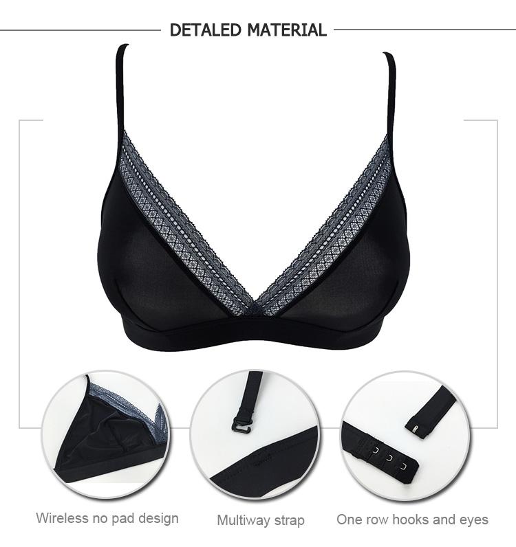 1f00321e25 OEM Sexy Hot Girl Transparent Black Plus Size Triangle Lingerie Bralette