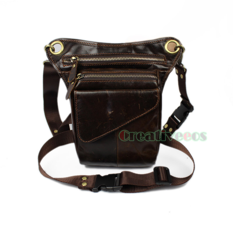 SmartHS Vintage Women PU Leather Motorcycle Bag Steampunk Shoulder Waist Bag Thigh Holster Bag One Size Brown