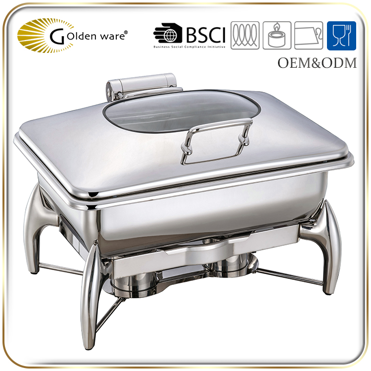Golden Ware large 9L restaurant Stainless Steel square electric food warmer chafing dish