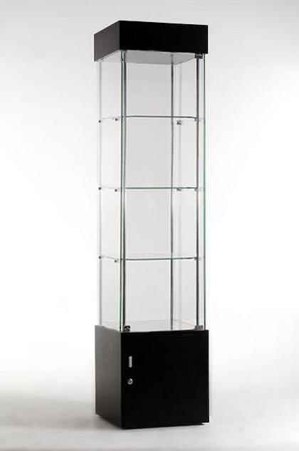 Glass rotating single cabinet display showcase