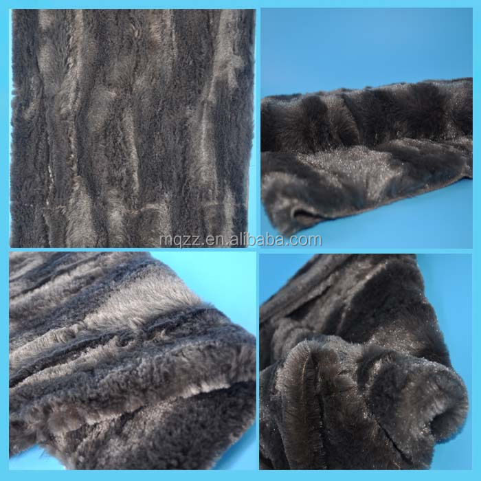 Deep coffee color PV plush velboa warp knitted fabric 500g/m plush two times brushing 100% polyester fabric