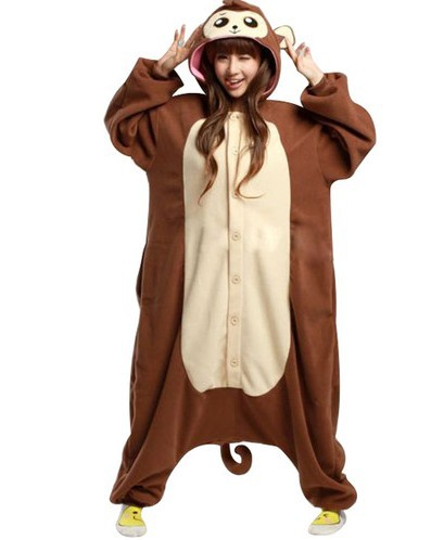 Home Adult Monkey Costume Men Women Couple Pajamas Winter Animal Warm Thick Jumpsuit Halloween Animal Monkey Clothes