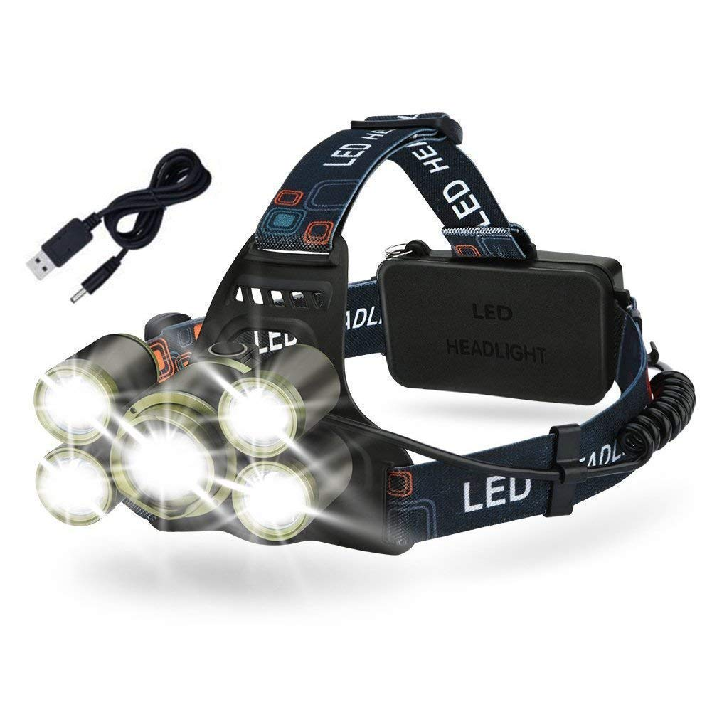 Headlamp Flashlight,EECOO 5 Modes Brightest 8000 Lumen Waterproof LED Headlight with 18650 Rechargeable for Camping,Hiking,Fishing,Hunting