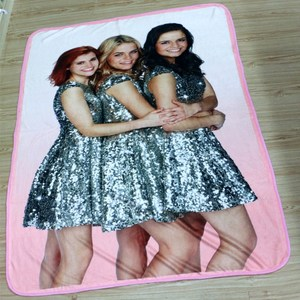 Promotional custom sublimation digital printing plush fleece gift blanket flannel blanket