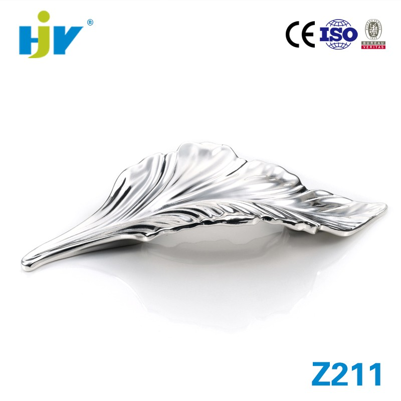 Super quality zinc alloy leaf kitchen handles