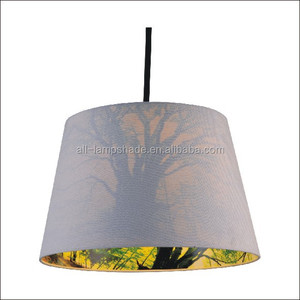 printed linen fabric laser cut lampshade (inside eco-friendly ps sheet )