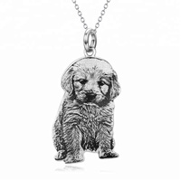Personalized Silver Cat Dog Necklace Photo Custom Jewelry 925 Sterling Silver Pet Charm Silver Necklace