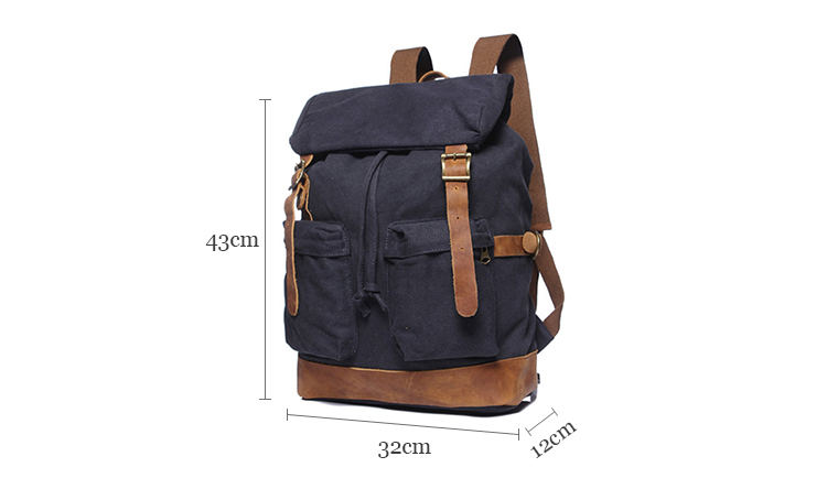 Factory direct supply high quality canvas laptop bag drawstring knapsack modern backpack