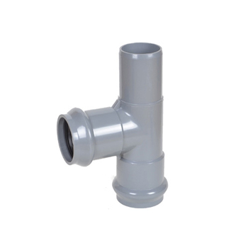 200mm UPVC PVC Plastic Pipe Fitting Two Faucet And One Insert Regular Tees Joints Din With Rubber Ring