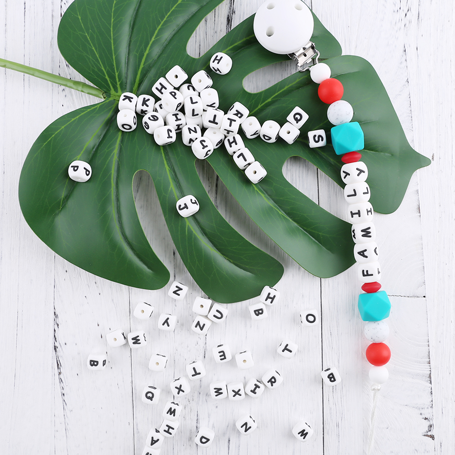 10mm Silicone letter BPA free Beads for Baby Teething DIY