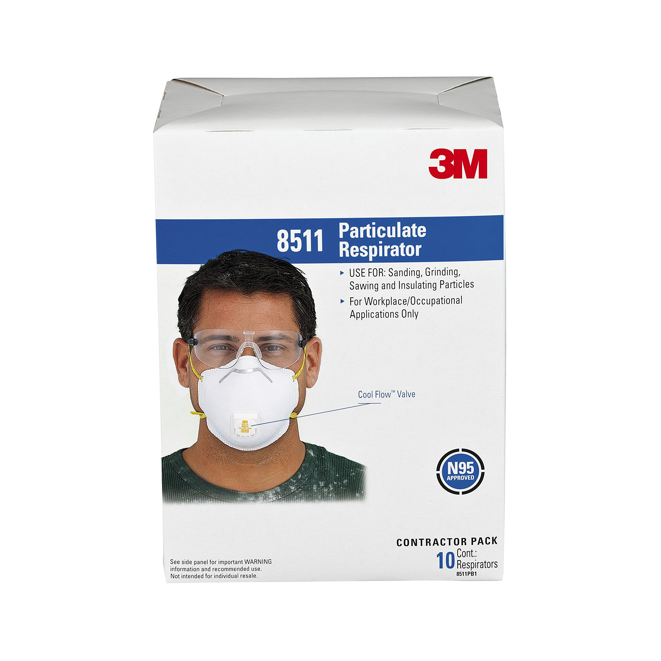 3M 8511PB1-A-PS Particulate N95 Respirator with Valve, 40-Pack