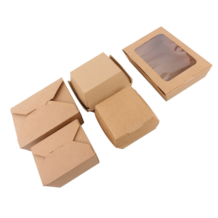 Hot Selling Food Grade Bruin Kraftpapier Burger Box Hamburger Doos