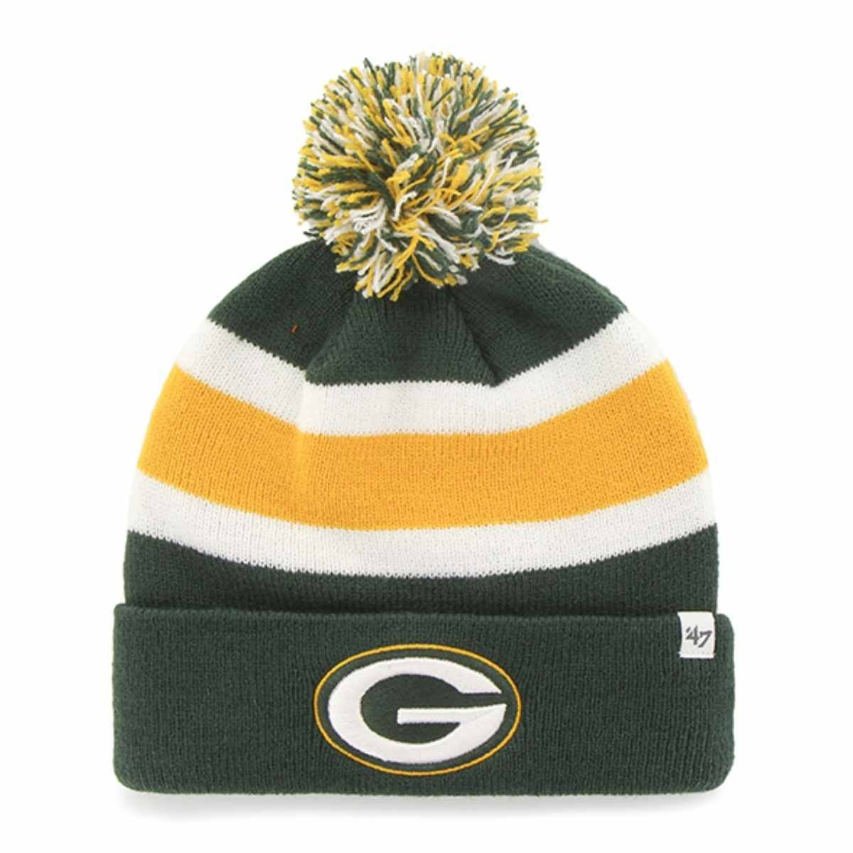 e9ce6f31976 Get Quotations · Green Bay Packers 47 Brand Green Breakaway Knit Cuff Beanie  Poofball Hat Cap