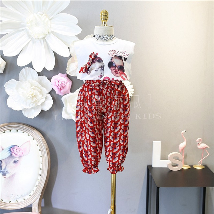 Wholesale Children Clothing Sets summer cute sleeveless t shirt + Floral pant 2pcs kid girl clothes set