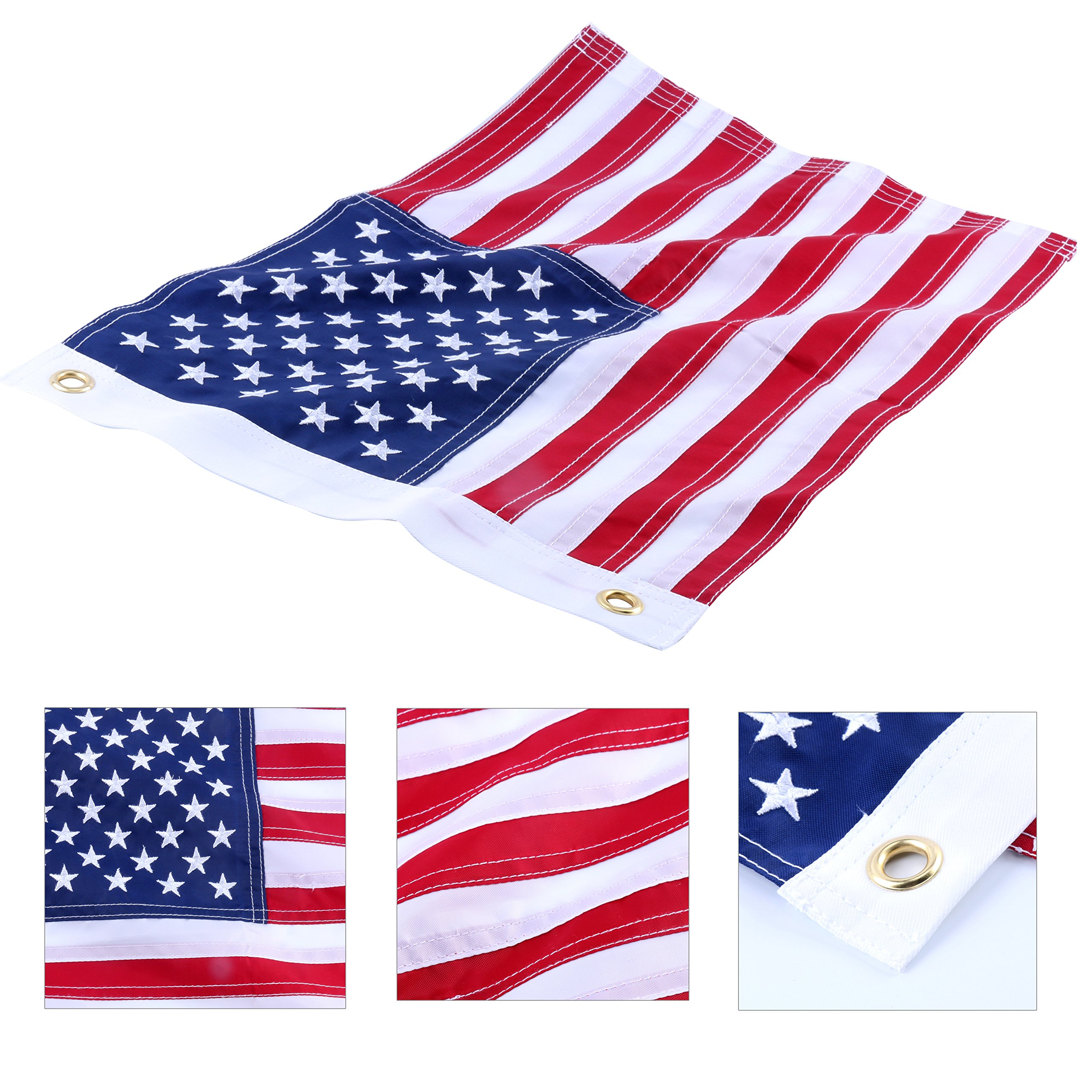Amarine-made12x18 Inch Yacht Boat Ensign Nautical US American Flag With Sewn Stripes and Embroidered Stars -45CM(18Inch)30CM(12Inch)For Boat, yacht, Workplace ,Home, Business & Outdoor Use