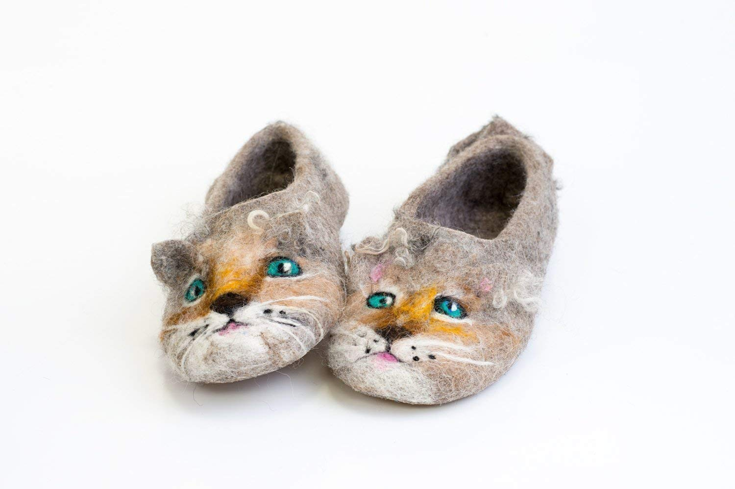 ae345bef41d4 Brown Kitty Handmade kids felted wool slippers, Toddler home shoes with non  slip soles