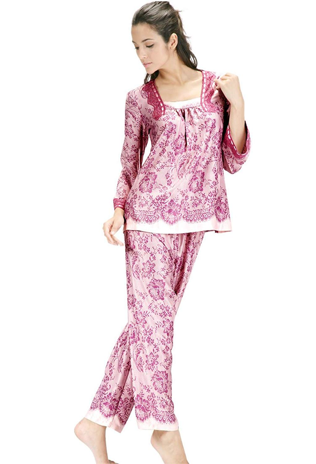 24d0db3d68 Get Quotations · NWEC Ladies  silk pajamas long sleeved trousers suit for leisure  silk and thin silk home