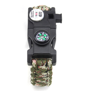 SOS LED Light army multifunction paracord survival bracelet with compass fire starter whistle