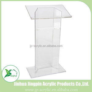 Wholesale modern design organic glass conference acrylic podium lectern with angled reading surface