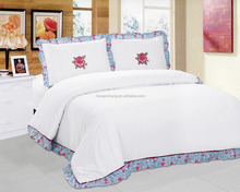 100% polyester plain flower embroidery bedding set bed sheet factory
