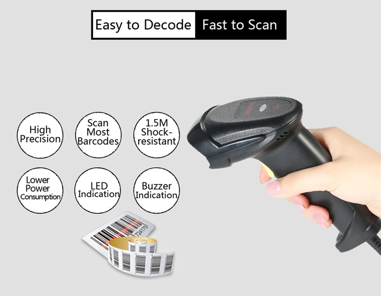 Durable USB Wired Handheld Laser Scan Barcode Bar Code Scanner Reader POS Gun