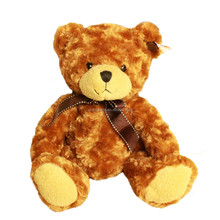 low price cute and high quality stuffed soft plush brown teddy bear toy with bow