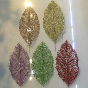 2018 New Products christmas decorations glitter spray flowers big leaves spray