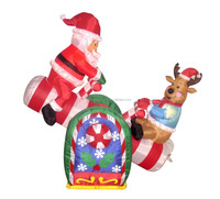 120cm/4ft inflatable santa claus and reindeer sitting on the Seesaw