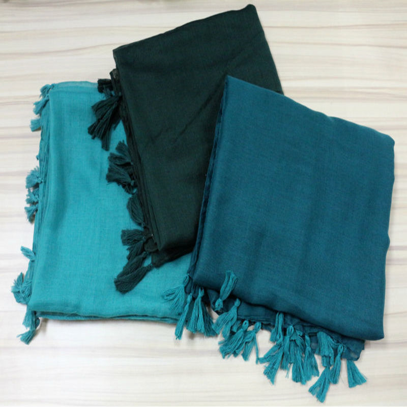 Fashionable Cheap Hijab Plain Pure Color Viscose Scarves With Tassels Muslim Uae Head Women Hijab