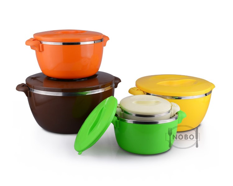 stainless steel thermo food container set with plastic lid