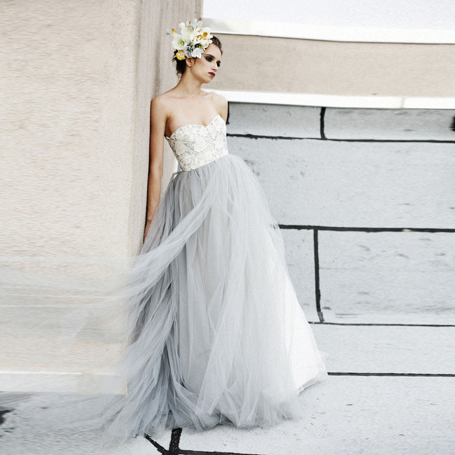 Grey Gowns Wedding: Vintage Light Gray Tulle Lace Wedding Dresses Puffy 2016