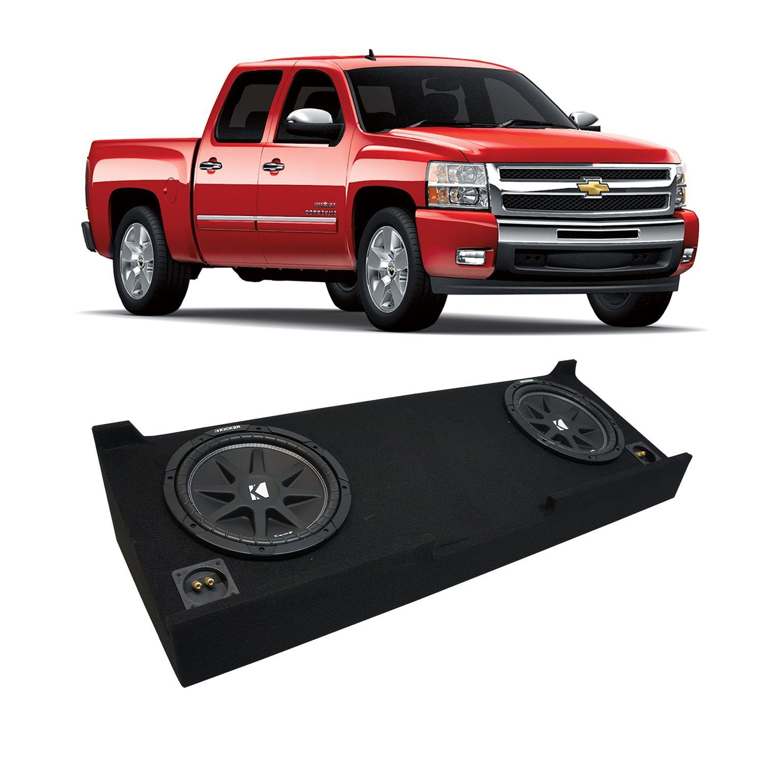 "2007-2013 Chevy Silverado Crew Cab Truck Kicker Comp C10 Dual 10"" Sub Box Enclosure - Final 2 Ohm"