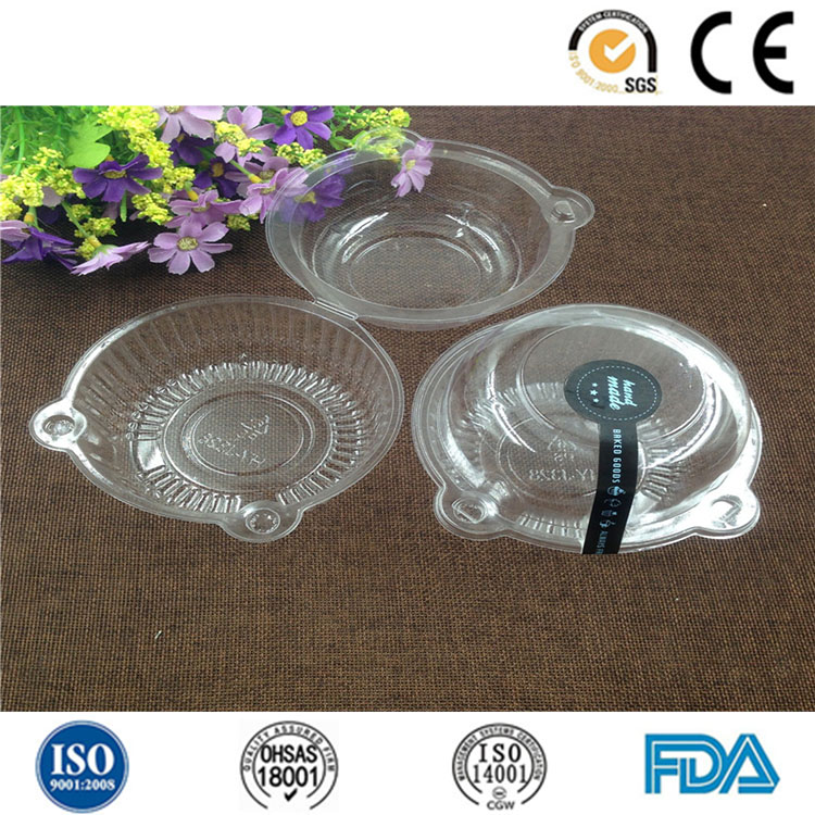 Plastic single packaging cake container with hinged lid