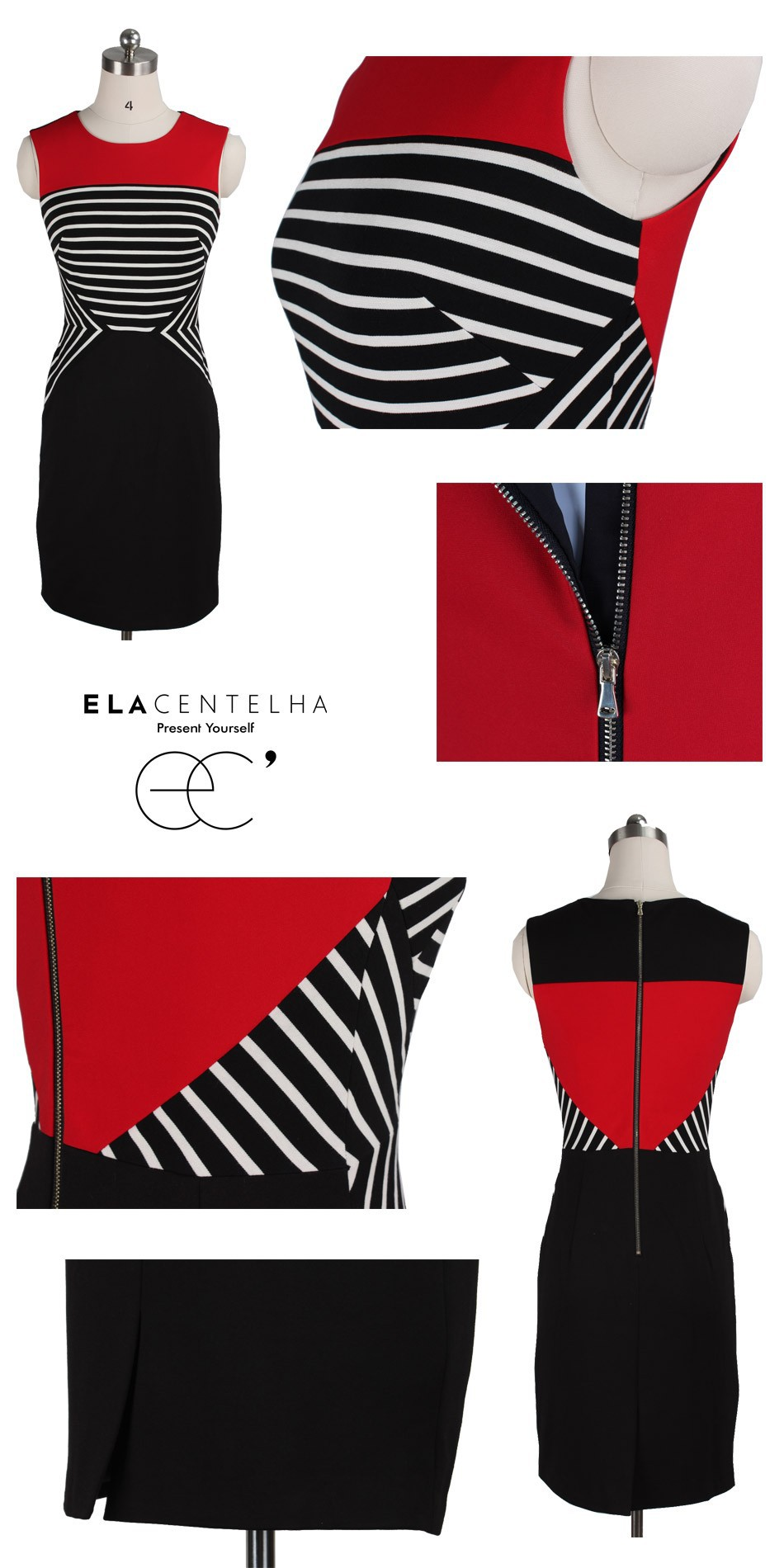 97db5d5f3accf Wholesale- ElaCentelha Neoclassicism Summer Women Casual Dress Striped  Color Block Patchwork Autumn A-line Fitted Day Dresses