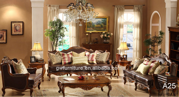 Classic Style Hand Carved Solid Wood Living Room Furniture