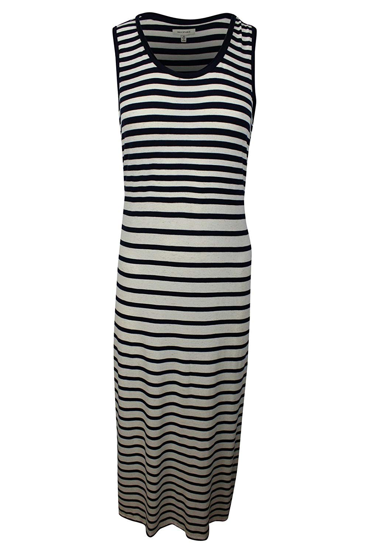 2dd870ff010 Get Quotations · MAXSTUDIO Max Studio Women s Blue White Mixed Striped  Sleeveless Maxi Jersey Dress