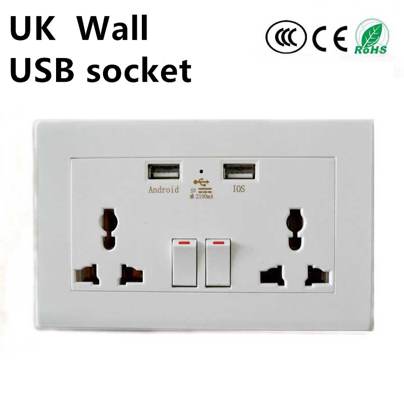 2016 Hot selling UK usb Wall Socket 5V1A/2A/4.8A with Dual USB Port British usb wall socket 220v