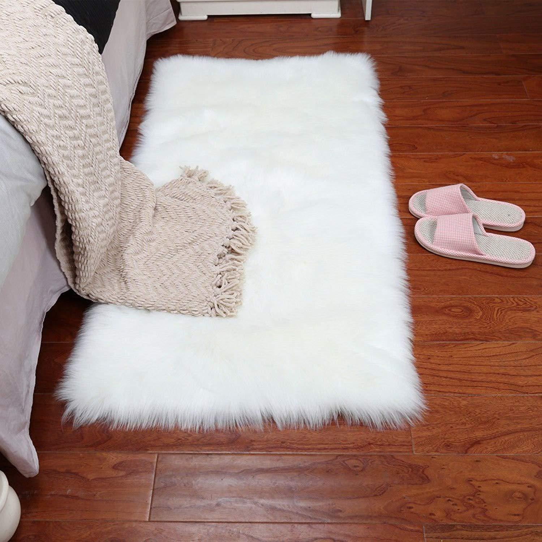 Get Quotations Faux Sheepskin Area Rug Clic Rectangle Plush Premium Shag Fur Runner