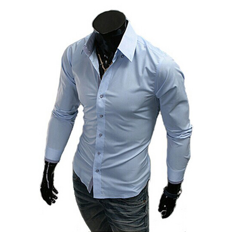 Men's Dress Shirt Brand 2015 Tops Mens Slim Fit Blouse Long Sleeve Fashion Dress Men Shirts Shirts Camisa Masculina R1574