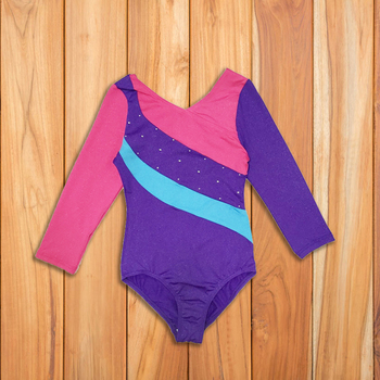 Factory Wholesale Cheap Kids Girls Shiny Spandex Gymnastic Leotards Long Sleeve
