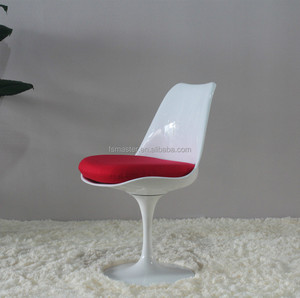 Hot sale dining swivel plastic tulip side chair with cushion